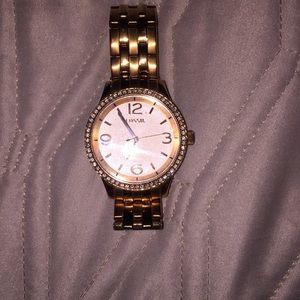 Fossil gold diamond studded watch